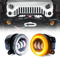 "4"" Inch 60W Cree Led Fog Lights W/Amber/Orange Halo Ring DRL for Jeep Wrangler JK Tractor Boat"