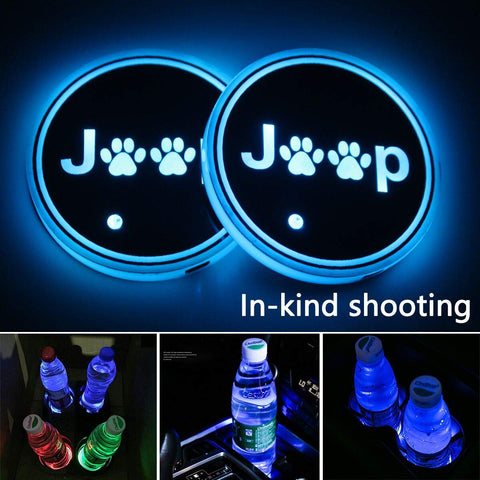 Jeep Wrangler JK Cup Mats with RGB LED Lights