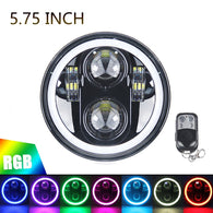"5.75"" RGB Halo Headlight for Harley Davidson Dyna Sportster Blackout Round LED Headlamp Replacement"