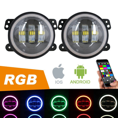 "4"" CREE LED Fog Lights with RGB Halo Angle Eyes - Sunpie"