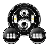 "7"" Black Motorcycle Daymaker LED Headlight + 2pcs 4.5"" Fog Lights"