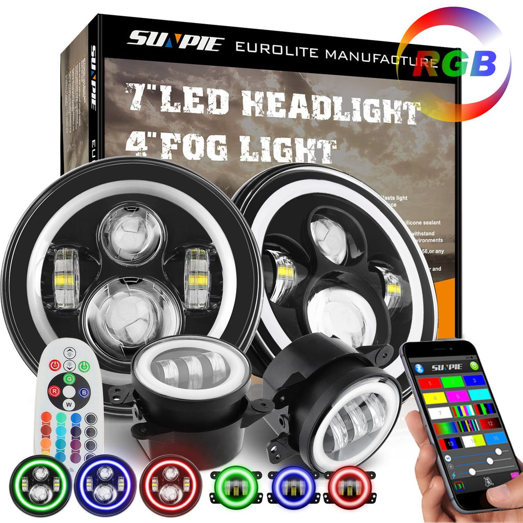 Sunpie Rgb Halo Led Headlight Fog Light Combo For Jeep