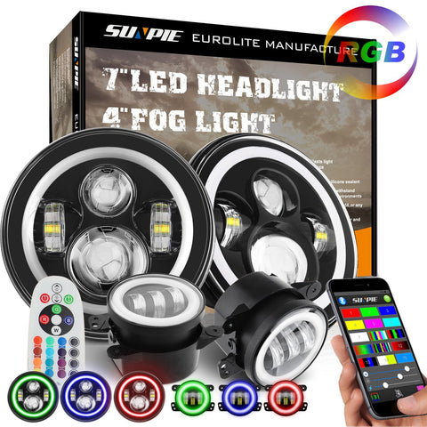 "Sunpie RGB halo 7"" LED headlight + 4"" Cree fog light Combo for Jeep Wrangler - Sunpie"