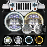 "7"" LED Headlights Halo White DRL & Amber Turn Signal + 4"" Fog Lights for Jeep Wrangler JK TJ LJ CJ Rubicon Sahara Willys Hummer H1 H2"