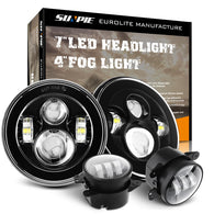 "7"" LED Headlight with Halo Angel Eye Ring & DRL & Turn Signal Lights + 4""fog lights for 97-18 Jeep Wrangler TJ LJ JK JKU"