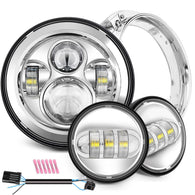 "Sunpie Harley Motorcycle 7"" Daymaker LED Headlight+4.5 inch Fog Lights+Bracket Mounting Ring (chrome)"