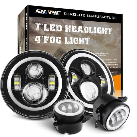 "Sunpie 7"" White DRL/Amber Turn Signal halo Headlights/4"" Fog Light combo set"