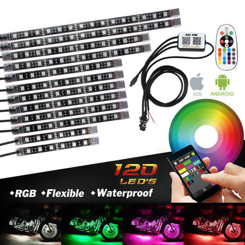 Sunpie 12 pcs motorcycle LED Light Kit Strips with Bluetooth Remote - Sunpie