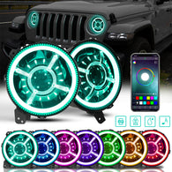 9 Inch RGB Halo LED Headlights for  2018-2020 Jeep Wrangler JL JLU & JT Gladiator