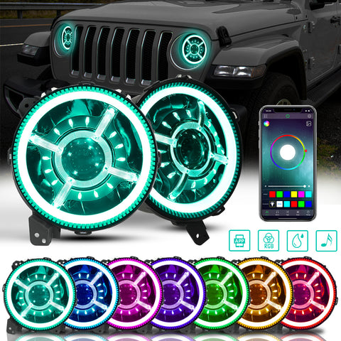 9 Inch RGB Halo LED Headlights for Jeep Wrangler JL & JT Gladiator 2018-2020