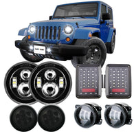 "Jeep Wrangler 7"" Headlights + 4"" Fog Lights + Turn Signals + Taillights Combo Kits for 2007-2018 Jeep Wrangler JK JKU"