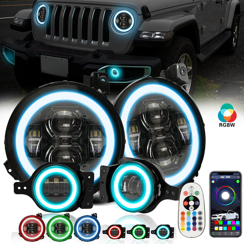 "9"" RGB-W Halo LED Headlights + 4"" RGBW LED Fog Lights For  2018-2021 Jeep Wrangler JL JLU Gladiator (JT)"