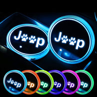 Sunpie Car RGB LED Cup Holder Mats Lights for Jeep Wrangler JK Accessories Interior Decoration Atmosphere Lamp Coaster