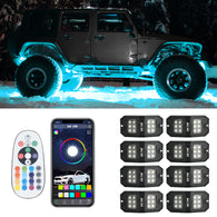 New Arrivals 8PC RGBW Rectangle LED Rock Lights Bluetooth & Remote Controller