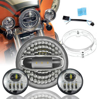 SUNPIE LED Headlight and Auxiliary Light Combo for Harley Davidson