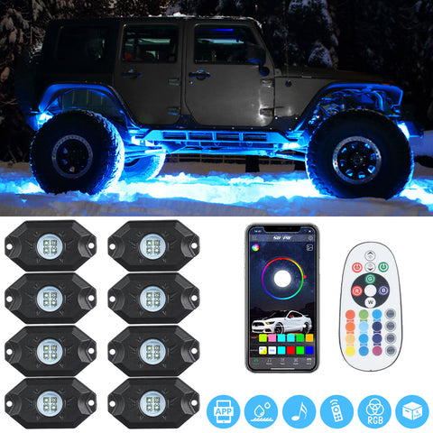 Sunpie RGB-W 8 pod LED Rock Lights Kits Bluetooth & Remote Dual Control (Pure White Light, Extra Switch Wire Included)