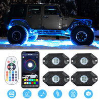 Sunpie RGB-W 4 pod Mini LED Rock Lights Kits Bluetooth & Remote Dual Control (Pure White Light)