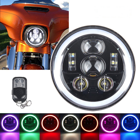 7 inch RGB halo LED headlight for Harley Davidson Street Glide Road King Softail - Sunpie