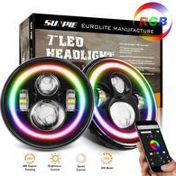 "Sunpie 7"" multi-color RGB Headlight with running halos - Sunpie"