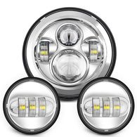 "Sunpie 7"" Chrome Harley Daymaker LED Headlight+ 4.5"" Fog Light kit - Sunpie"