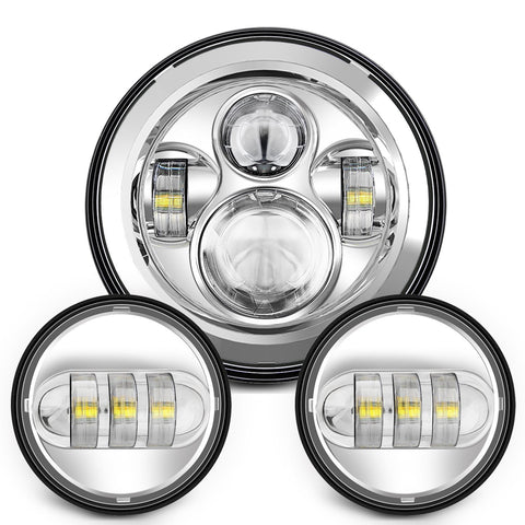 Chrome LED Projector Daymaker Headlight Ping Lights ... on