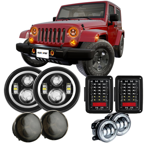 "Jeep 7"" RGB Headlights +RGB 4"" Fog Lights + Turn Signals + Taillights Combo Sets"