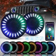 "7"" 3D RGB/RGB-W Halo Headlights for 1997-2018 Jeep Wrangler JK TJ LJ (Chrome/Black)"