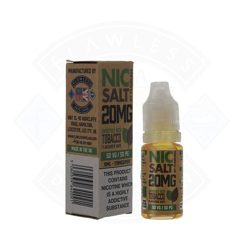 Vape Nic Salt E liquid Flawless Smoothly Rich Tobacco