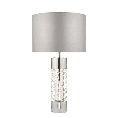 Yalena Chrome Crystal Bead Cylinder Table Lamp With Shade 60cm Homelightsdirect