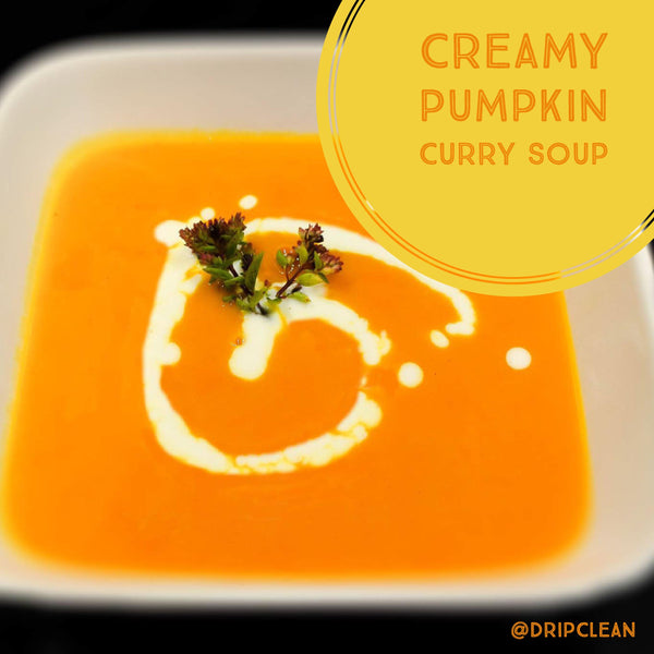 Autumn creamy pumpkin curry soup