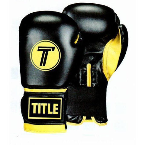 TITLE LEATHER SPARRING GLOVES: 12oz - BLACK WITH YELLOW TRIM