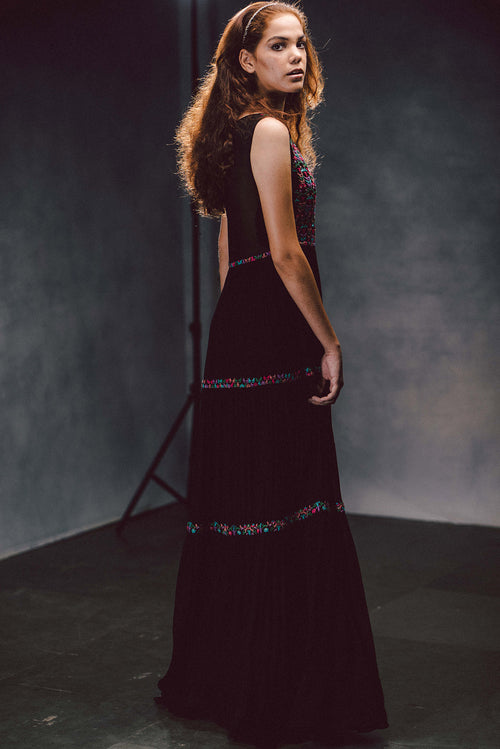 Beguling Black Tiered Maxi Dress