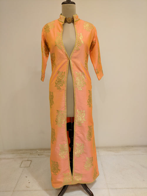 Peach Brocade Long Jacket