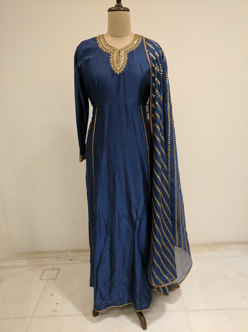 Navy Blue Gota Jaal Kurta Set