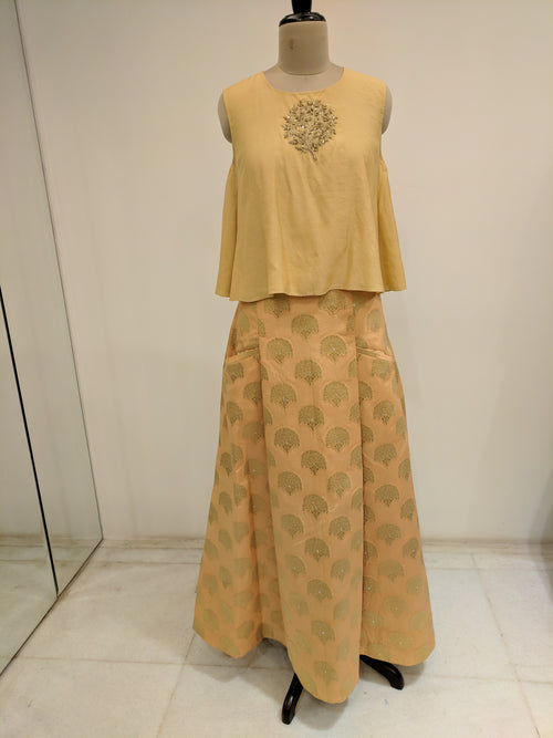 Beige Tree Of Life Lehenga