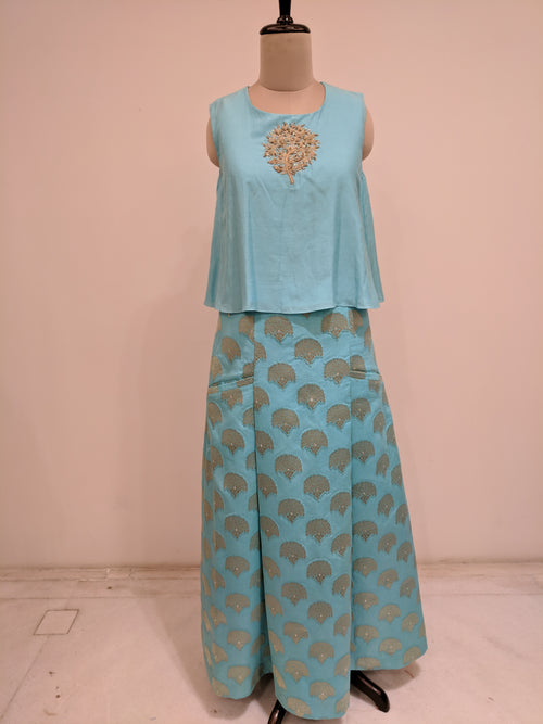 Pastel Blue Tree Of Life Lehenga