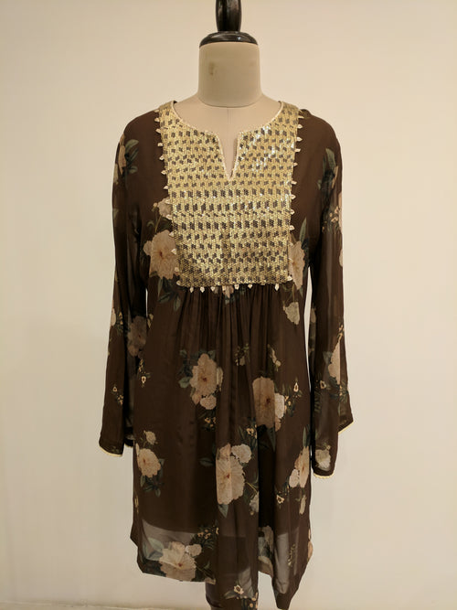 Brown Gulbagh Zeb Tunic