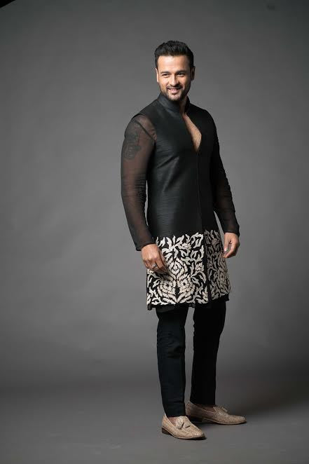 Monochrome Black Kurta Pant Set