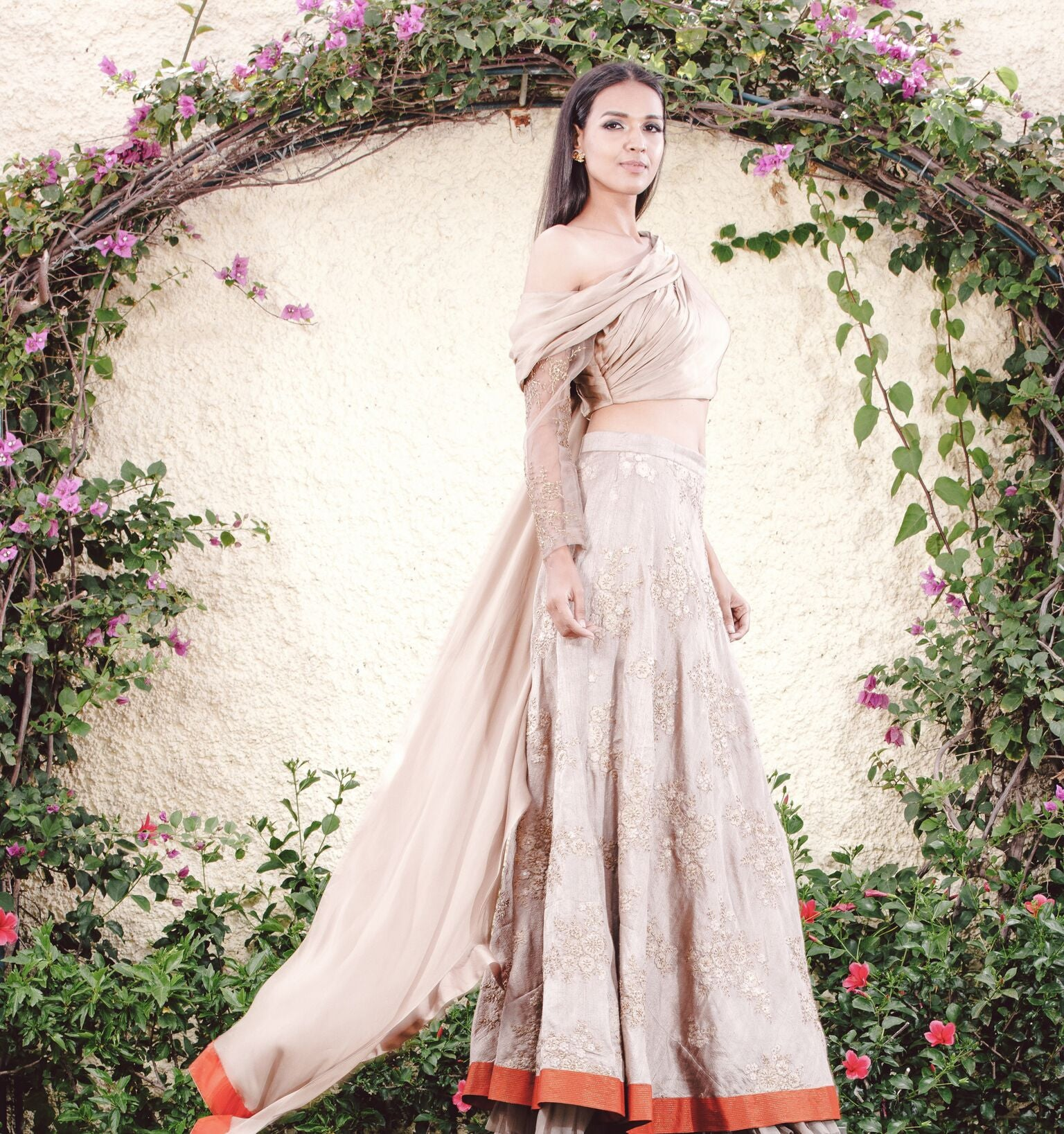 Budding Beige Ghagra and Choli