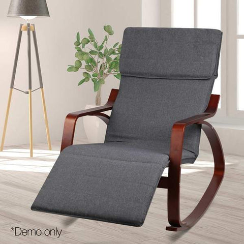 Birch Plywood Adjustable Rocking Lounge Arm Chair Fabric Cushion Charcoal