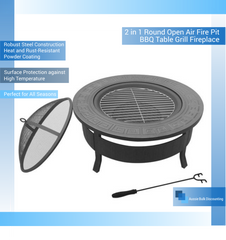 2 in 1 Round Open Air Fire Pit BBQ Table Grill Fireplace