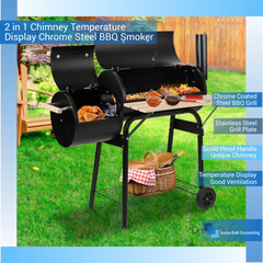 2-in-1 Chimney Temperature Display Chrome Steel BBQ Smoker