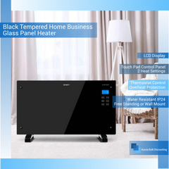 Black Tempered Home Business Glass Panel Heater