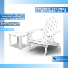 White Wooden Timber Foldable Deck Chair Side Table Set