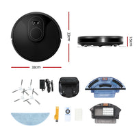 Robot Vacuum Cleaner Smart Robotic Carpet Mop Floor Dry Wet Brushless Motor Black