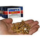 "BULK BUY 50 Boxes x 200pc 7x1"" Unifix Electro Brassed Woodscrews-Almec Products"