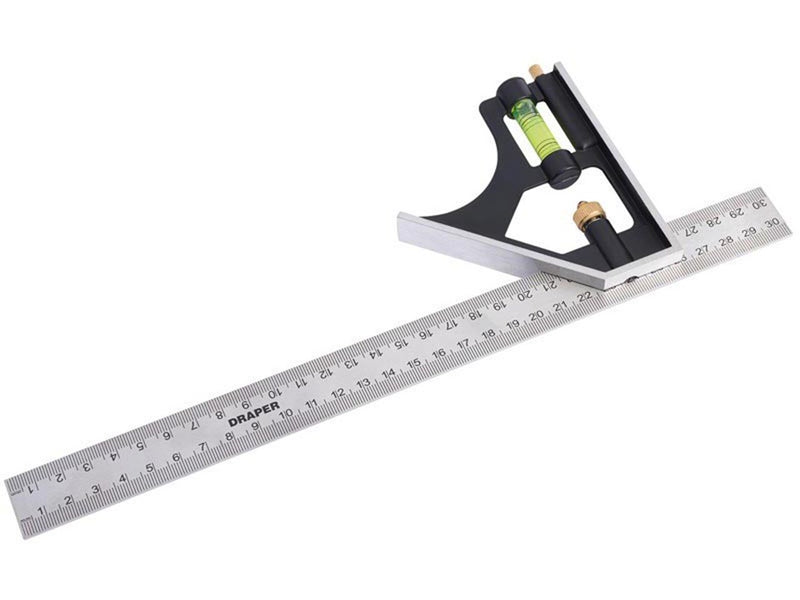 "300mm 12"" Metric and Imperial Combination Square with Spirit Draper (81139)-Almec Products"