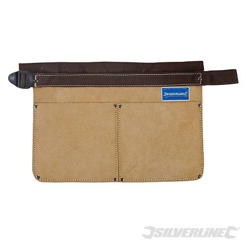 Silverline Double Leather Nail Pouch Tool Belt 2 Pocket