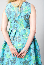 Dress Elsa, turquoise flowers