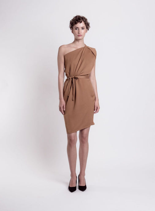 Tulip cocktail dress, cappuccino